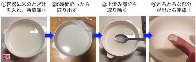 米のとぎ汁 パック 作り方